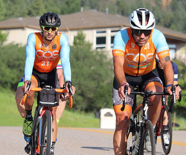 Several cyclists on the COS Racing Team in the 719 Ride