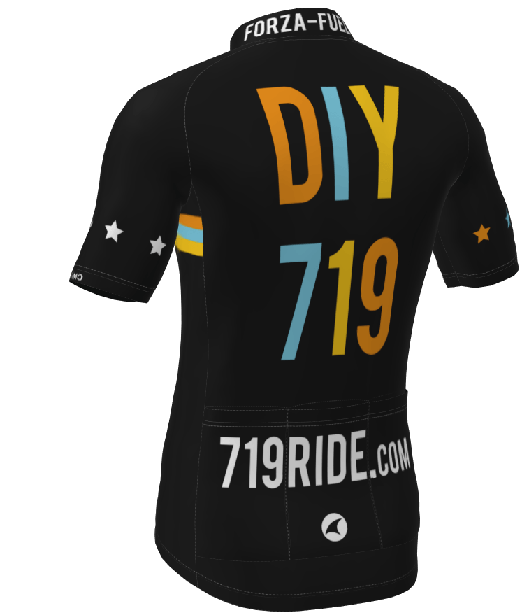 The back view of the DIY 719 cycling jersey