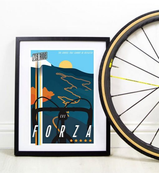 Framed 719 Ride poster designed by Hannah Unger