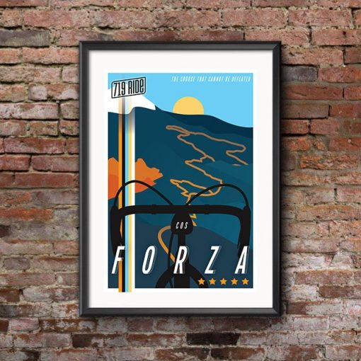 Framed 719 Ride poster designed by Hannah Unger and displayed on a brick wall