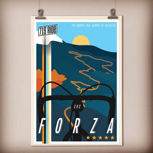 Framed 719 Ride poster designed by Hannah Unger and hanging on the wall by two clips