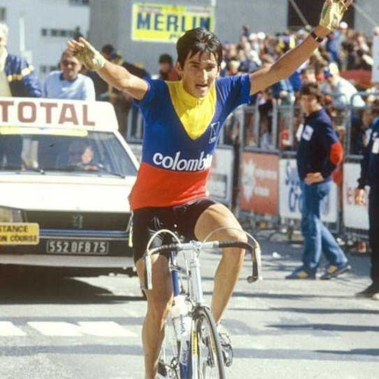 "Luis ""Lucho"" Herrera wins at Alpe d'Huez in the 1984 Tour de France"