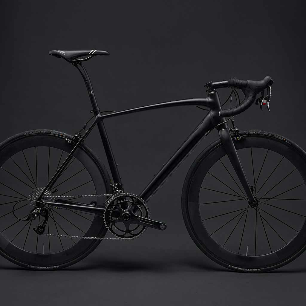 A matte black road bike