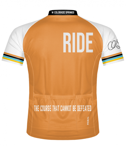 The back of the Orange Glorious 719 Ride cycling jersey
