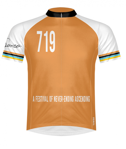 The front of the Orange Glorious 719 Ride cycling jersey