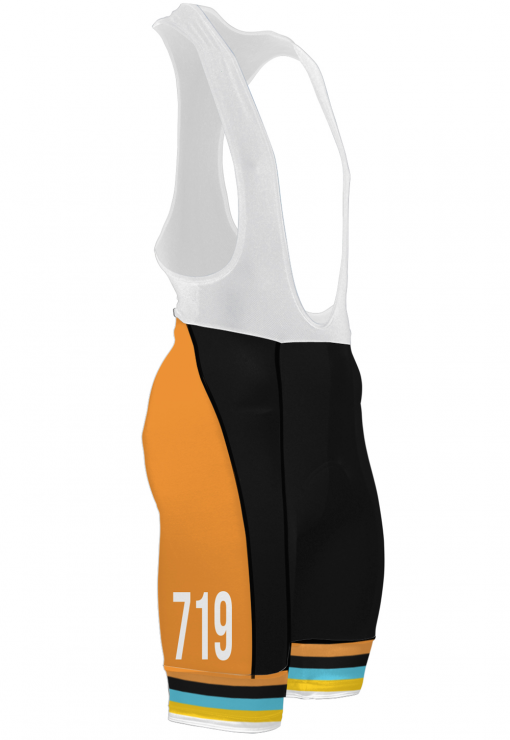 The right side of the Orange Glorious 719 Ride cycling bib shorts