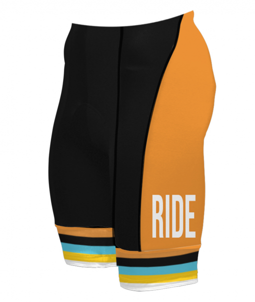 The left side of the Orange Glorious 719 Ride cycling shorts
