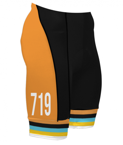 The right side of the Orange Glorious 719 Ride cycling shorts