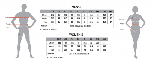 Pactimo size chart for 719 Ride cycling apparel