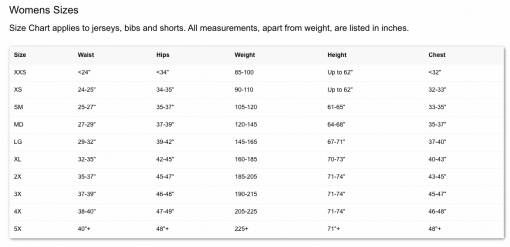 Primal sizing chart for women's 719 Ride cycling apparel